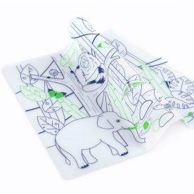 placemat & 5 stiften - afwasbaar - oost-aziatisch wild