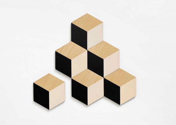 tafeltegels - hout - zwart/beige