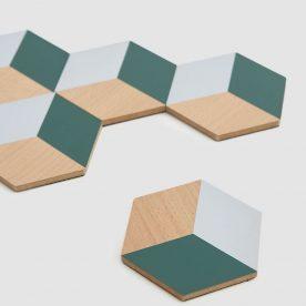 tafeltegels - hout - groen/grijs